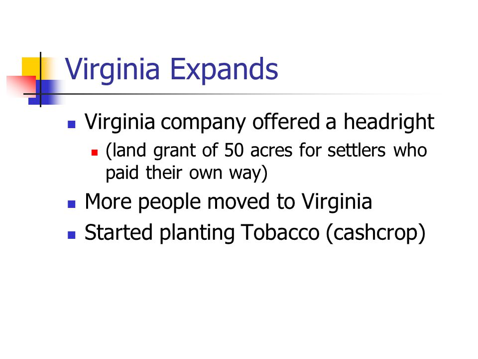 Virginia Expands Virginia company offered a headright