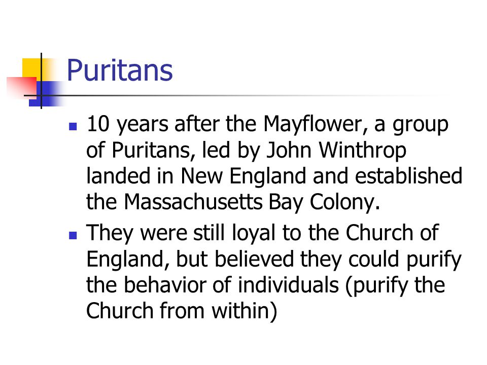 Puritans 10 years after the Mayflower, a group of Puritans, led by John Winthrop landed in New England and established the Massachusetts Bay Colony.