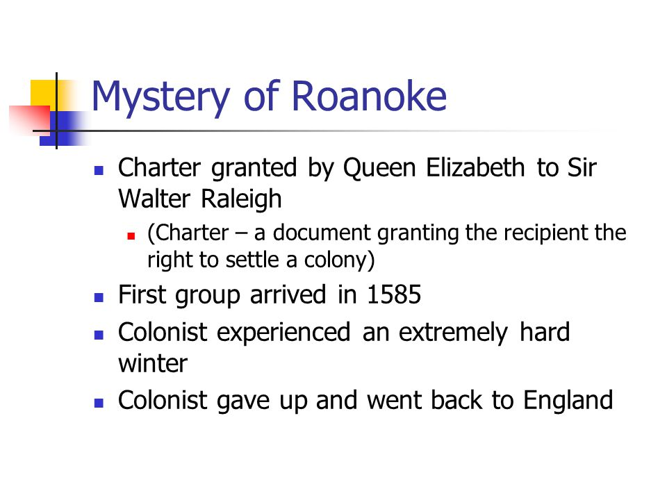 Mystery of Roanoke Charter granted by Queen Elizabeth to Sir Walter Raleigh.