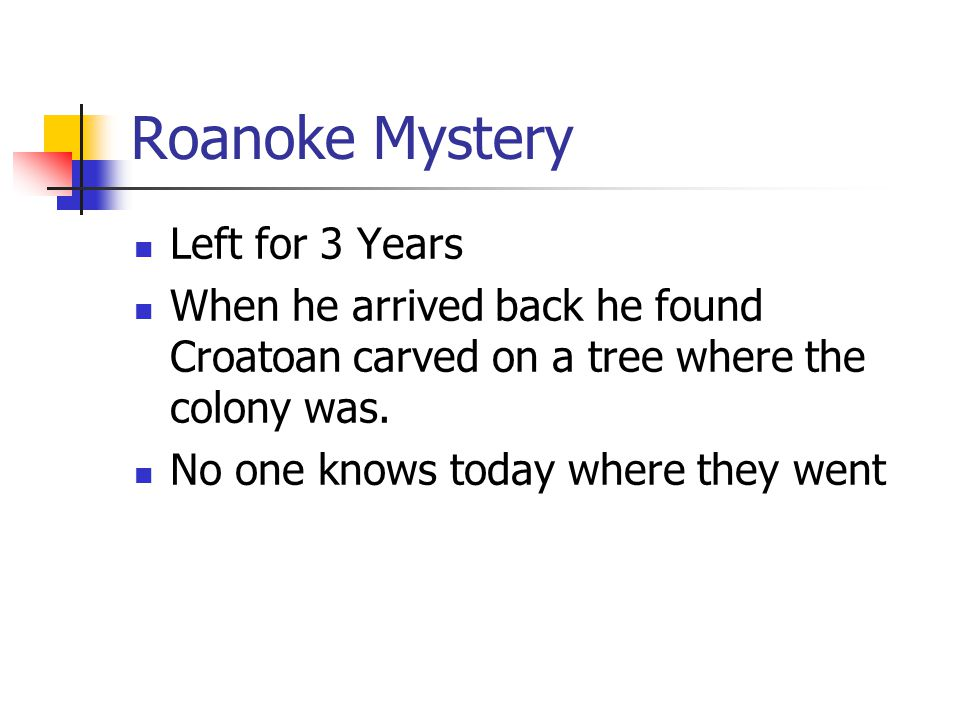 Roanoke Mystery Left for 3 Years
