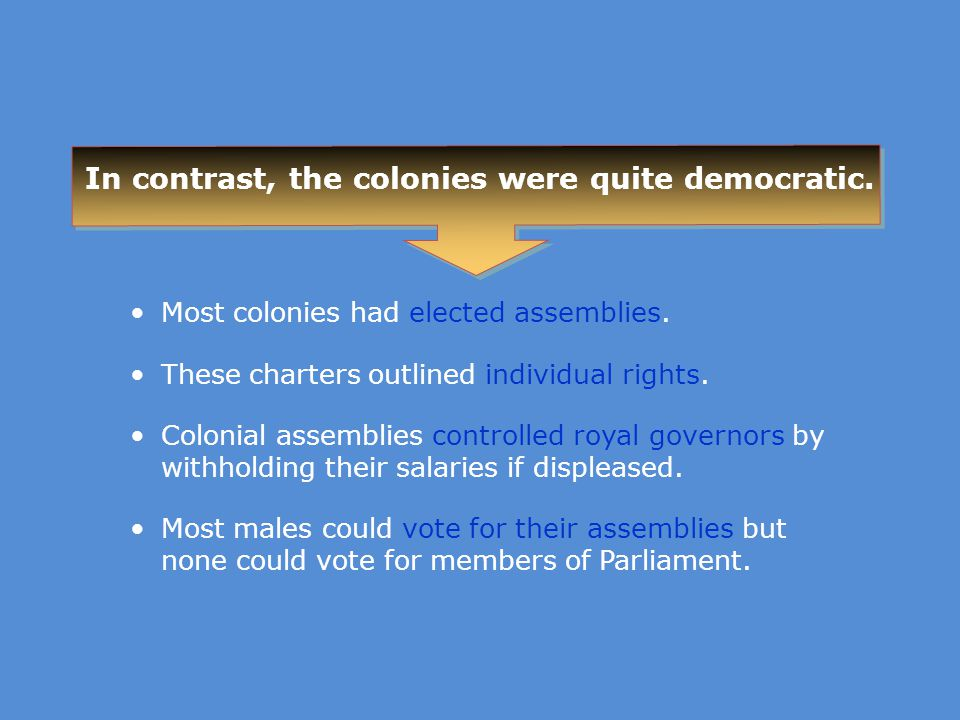 In contrast, the colonies were quite democratic.
