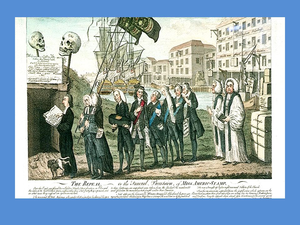 Death of the Stamp Act This cartoon shows British government ministers mourning the end of the Stamp Act.