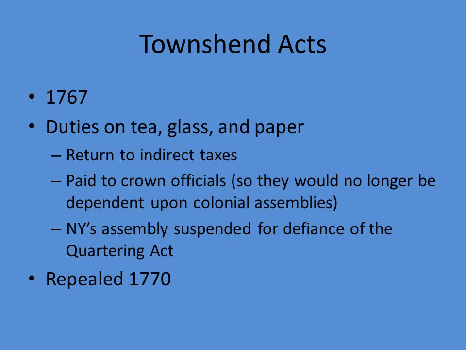 Townshend Acts 1767 Duties on tea, glass, and paper Repealed 1770