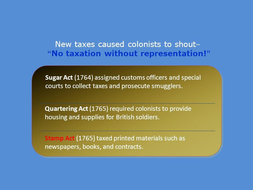 New taxes caused colonists to shout– No taxation without representation!