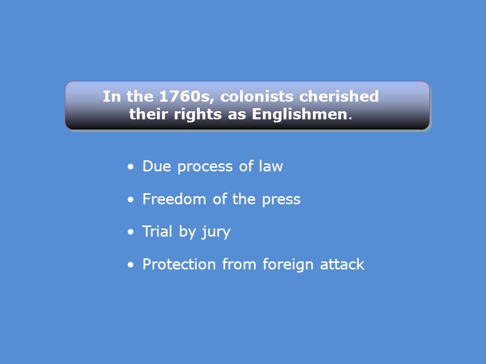 In the 1760s, colonists cherished their rights as Englishmen.