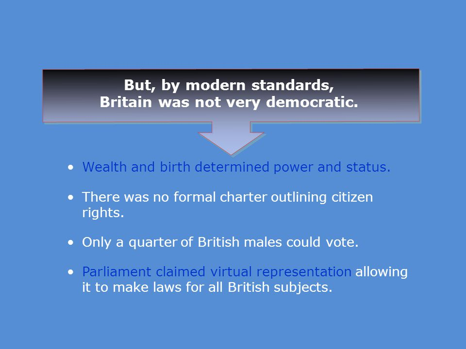 But, by modern standards, Britain was not very democratic.