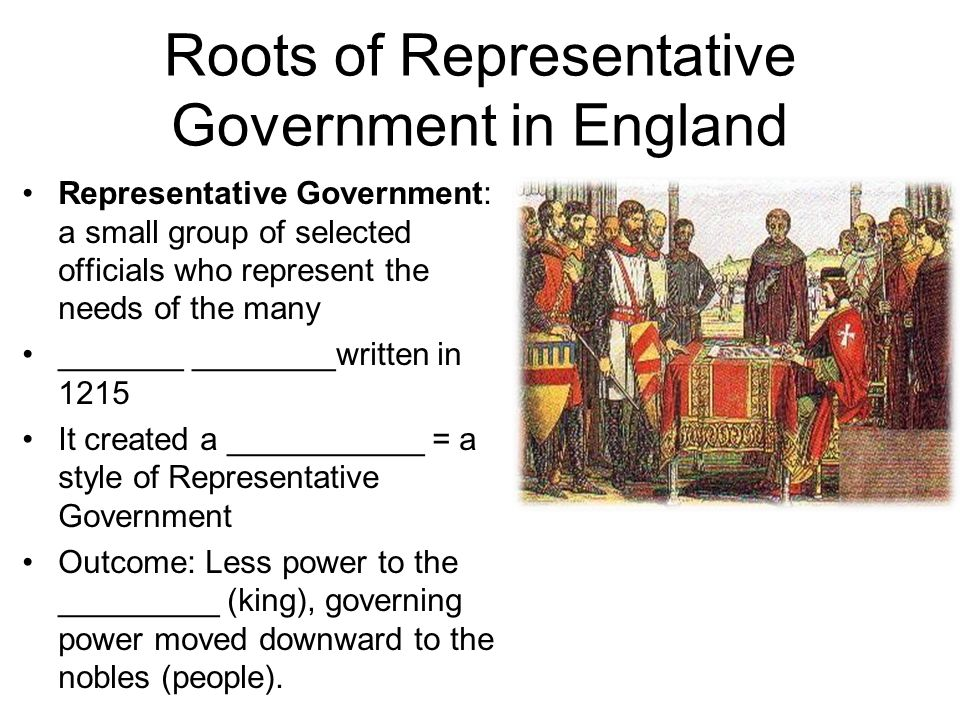 Roots of Representative Government in England