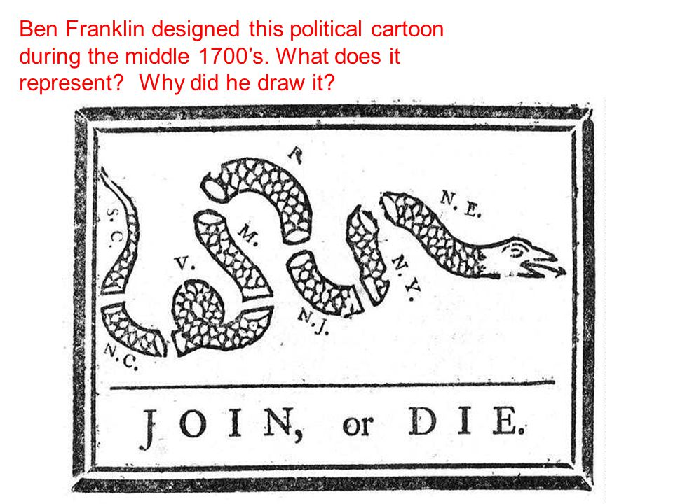 Ben Franklin designed this political cartoon during the middle 1700's