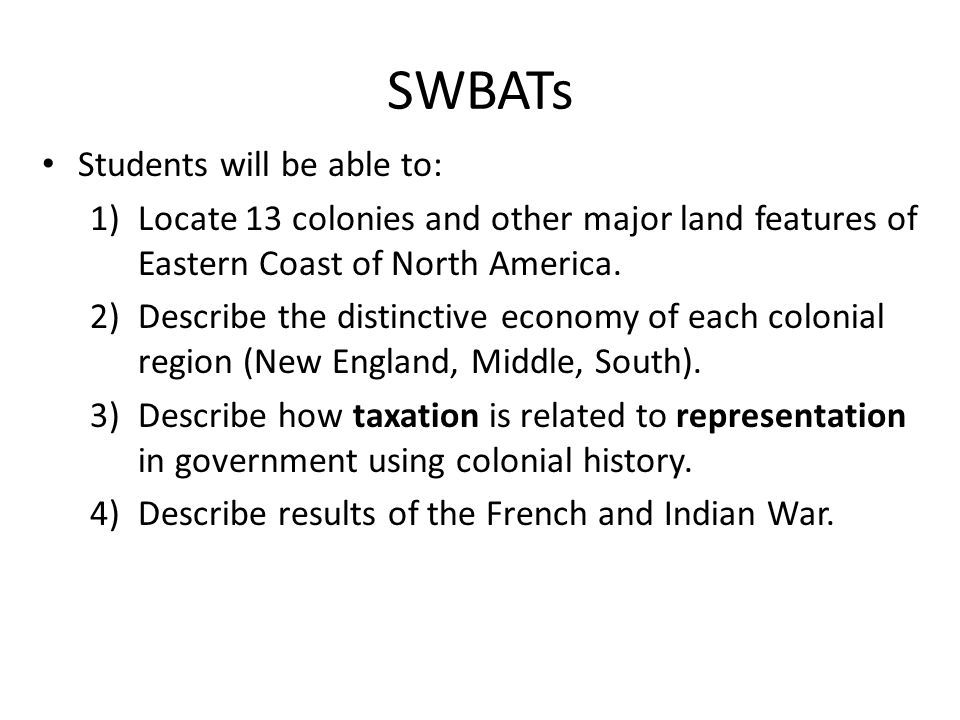 SWBATs Students will be able to: