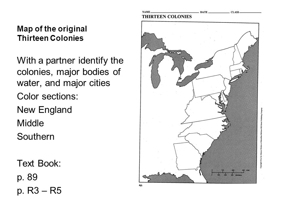 Map of the original Thirteen Colonies