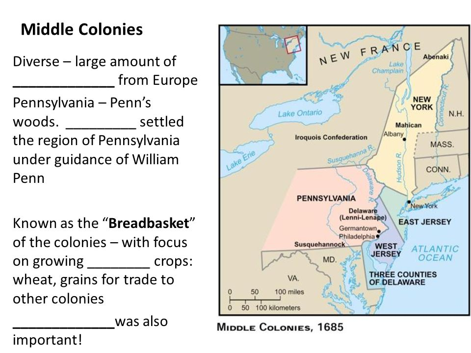 Middle Colonies Diverse – large amount of _____________ from Europe
