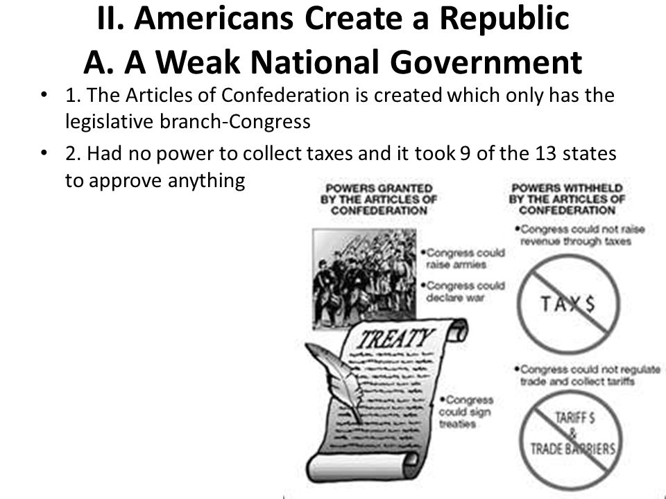 II. Americans Create a Republic A. A Weak National Government