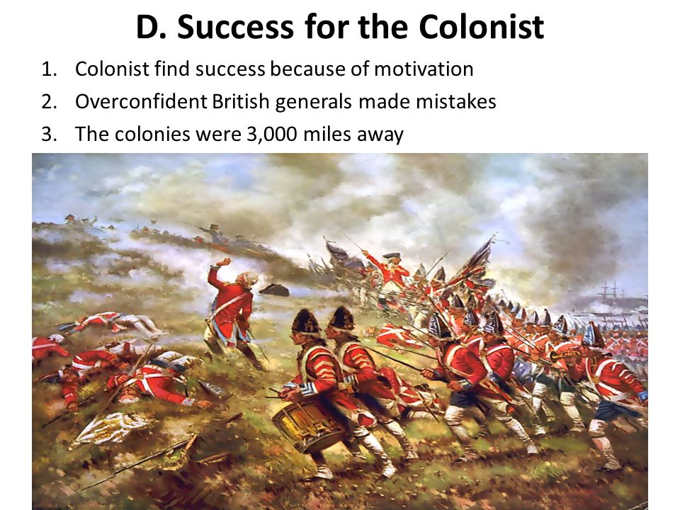 D. Success for the Colonist
