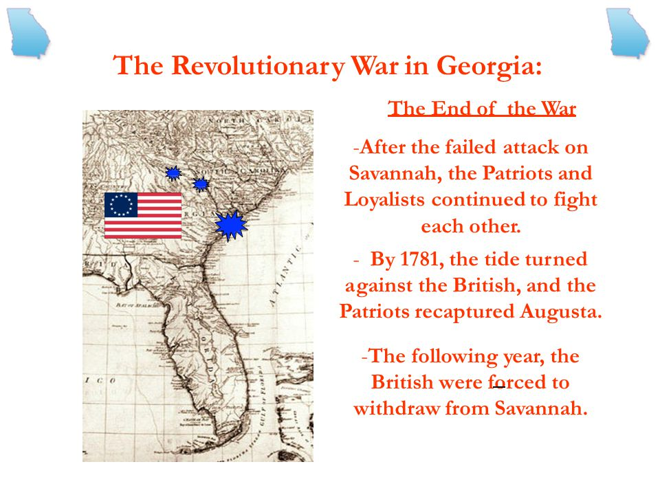 The following year, the British were forced to withdraw from Savannah.
