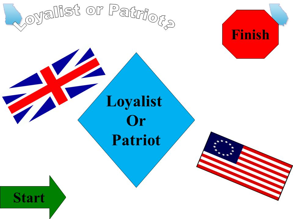 Finish Loyalist or Patriot Loyalist Or Patriot Start