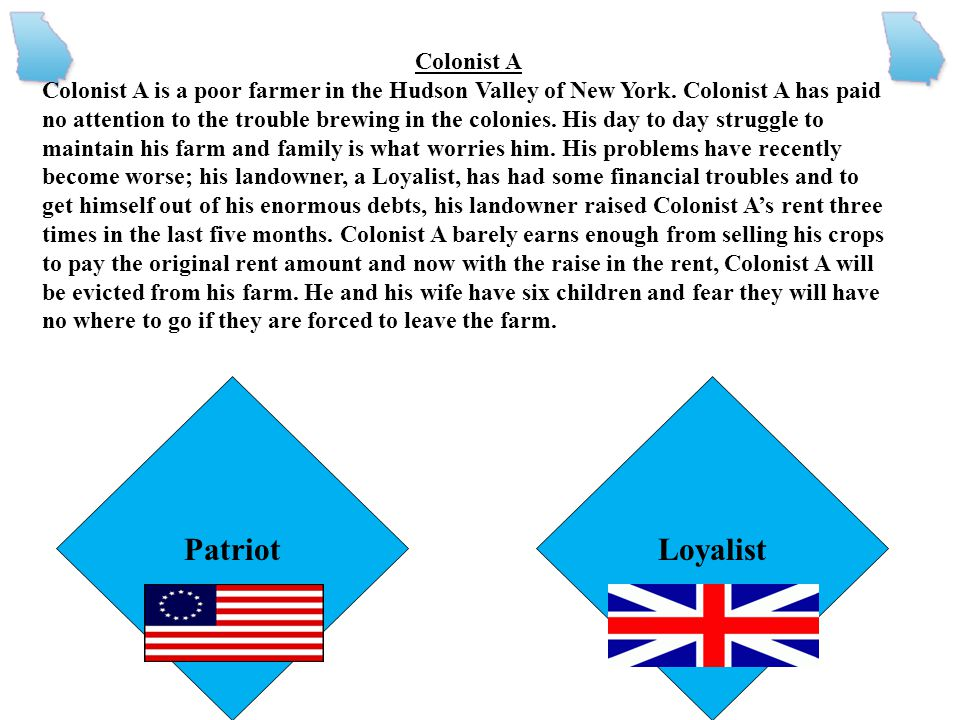 Patriot Loyalist Colonist A