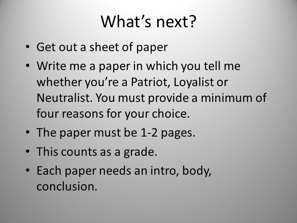What's next Get out a sheet of paper