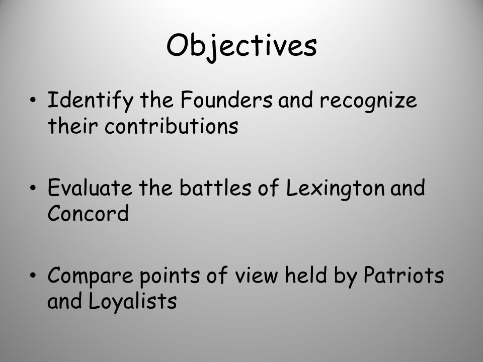 Objectives Identify the Founders and recognize their contributions