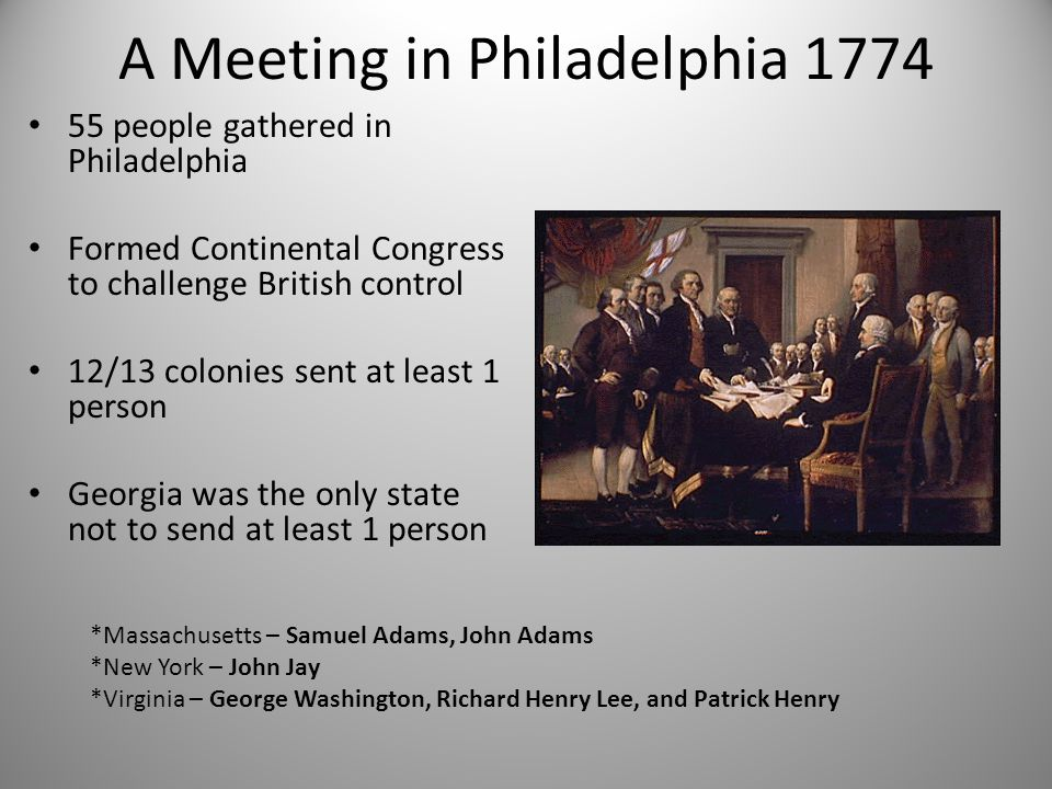 A Meeting in Philadelphia 1774