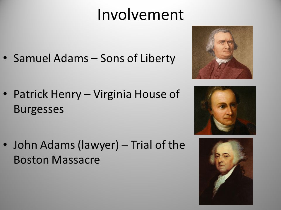 Involvement Samuel Adams – Sons of Liberty