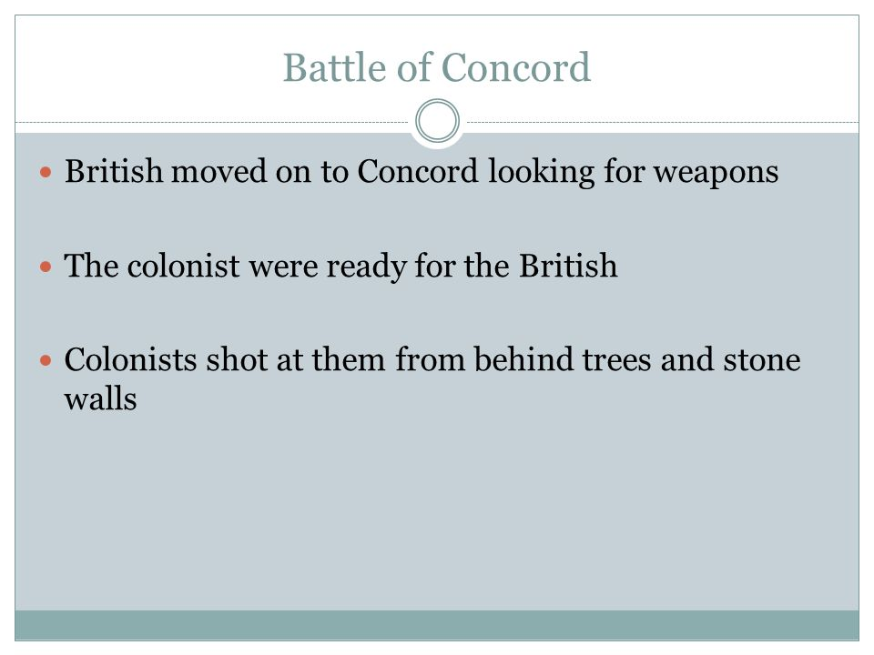 Battle of Concord British moved on to Concord looking for weapons