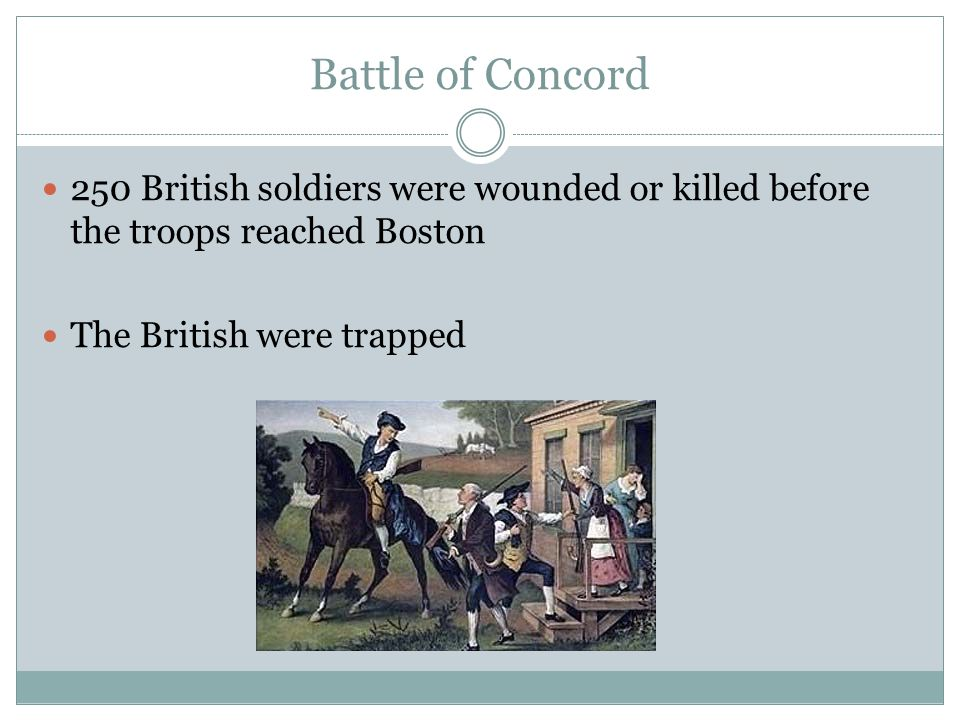 Battle of Concord 250 British soldiers were wounded or killed before the troops reached Boston.