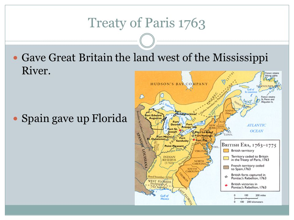 Treaty of Paris 1763 Gave Great Britain the land west of the Mississippi River.