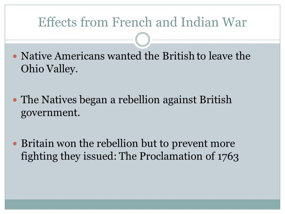 Effects from French and Indian War
