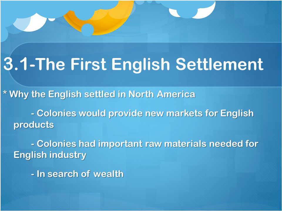 3.1-The First English Settlement