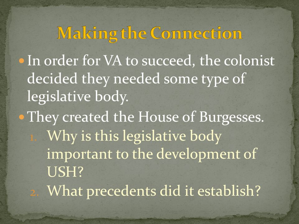 Making the Connection In order for VA to succeed, the colonist decided they needed some type of legislative body.
