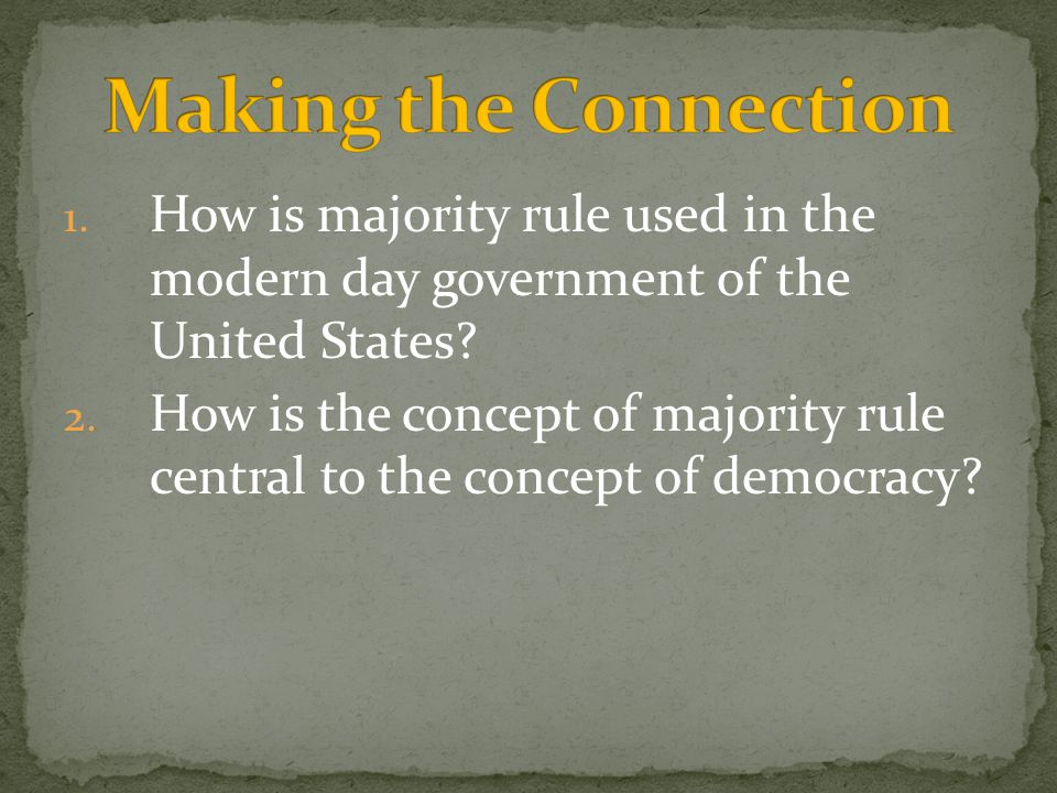 Making the Connection How is majority rule used in the modern day government of the United States