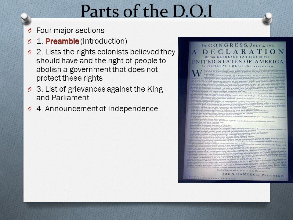 Parts of the D.O.I Four major sections 1. Preamble (Introduction)