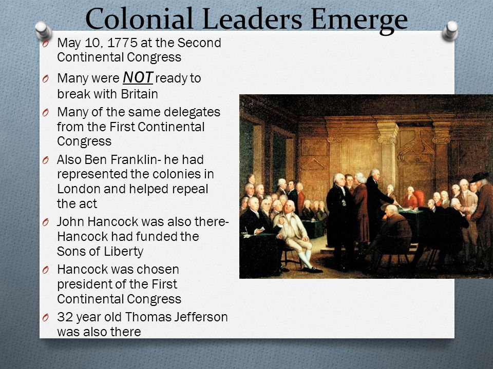 Colonial Leaders Emerge
