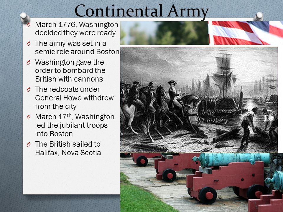Continental Army March 1776, Washington decided they were ready