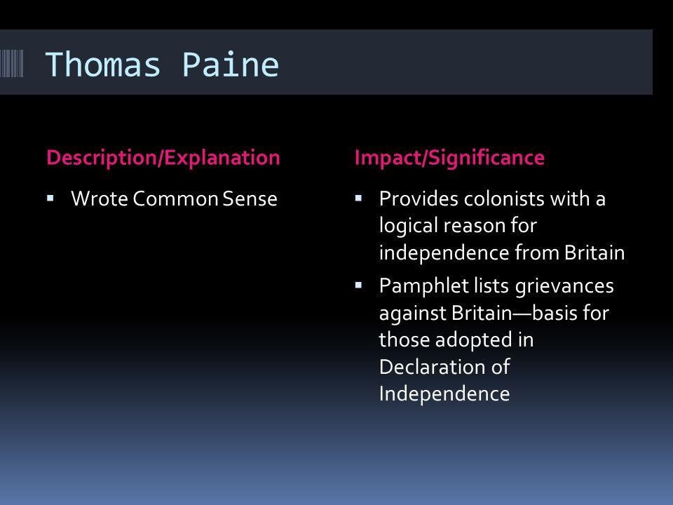 Thomas Paine Description/Explanation Impact/Significance