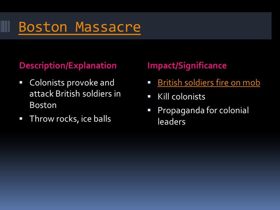 Boston Massacre Description/Explanation Impact/Significance