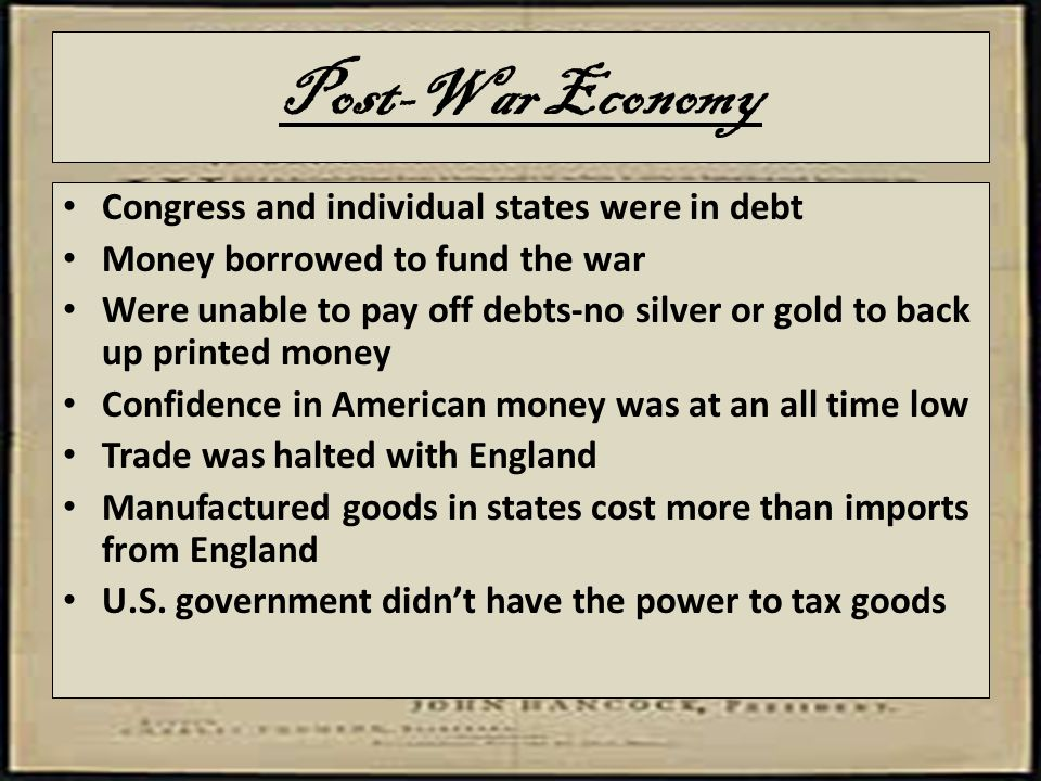 Post-War Economy Congress and individual states were in debt