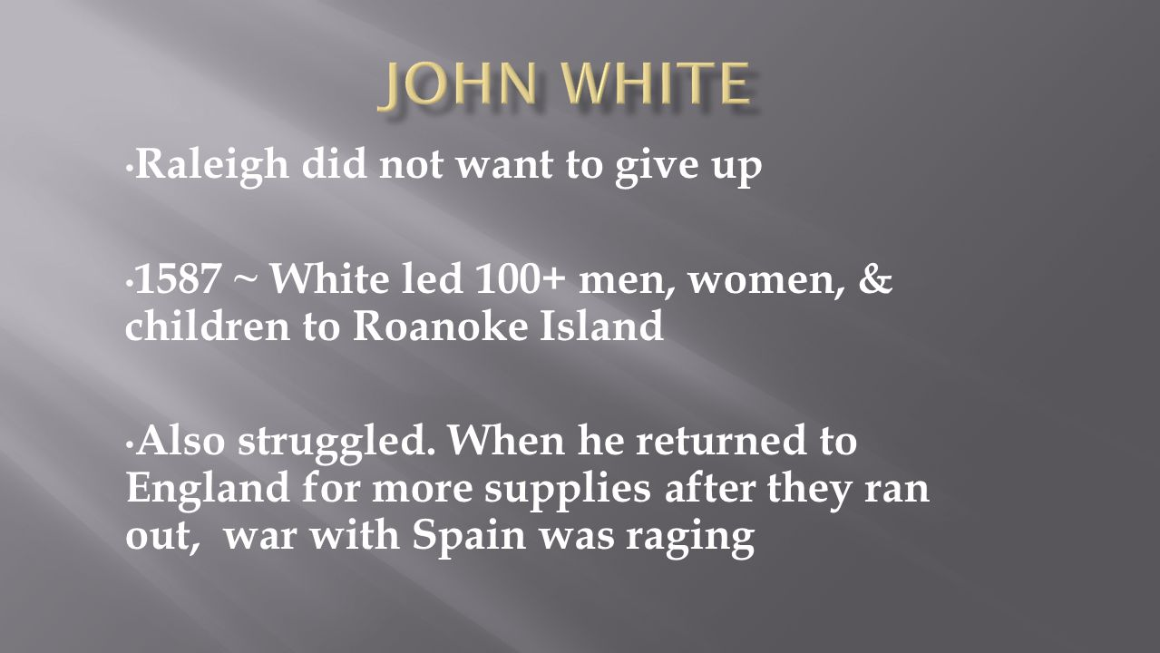 John White Raleigh did not want to give up