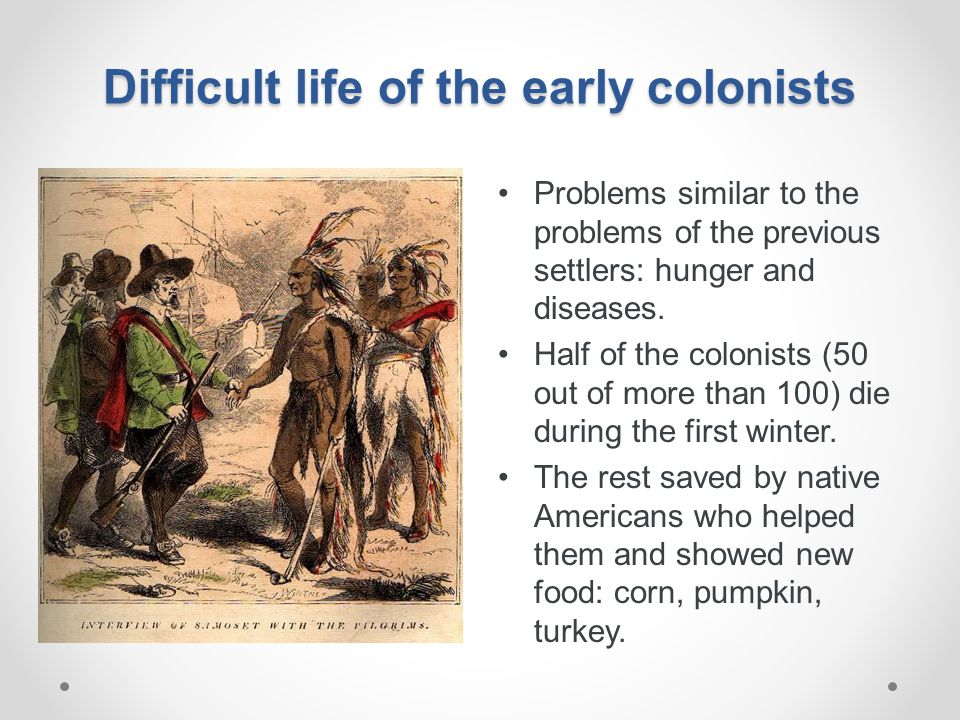 Difficult life of the early colonists