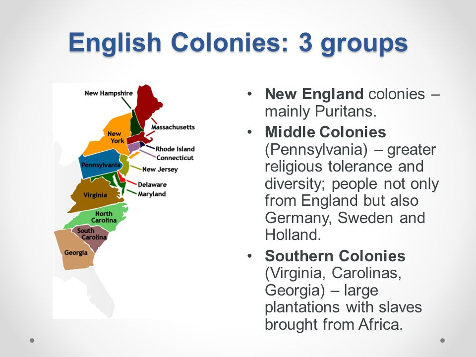 English Colonies: 3 groups