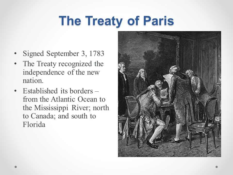 The Treaty of Paris Signed September 3, 1783
