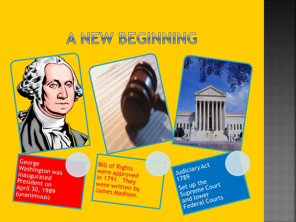 A New Beginning George Washington was inaugurated President on April 30, 1989 (unanimous)