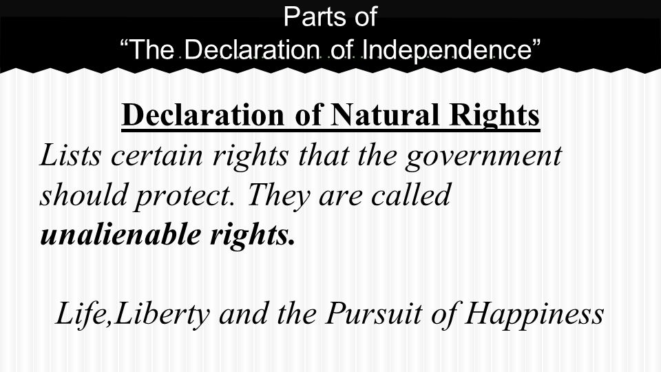 Parts of The Declaration of Independence