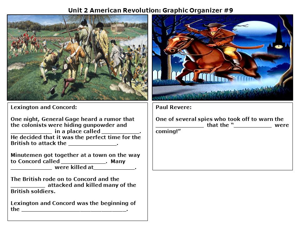 Unit 2 American Revolution: Graphic Organizer #9