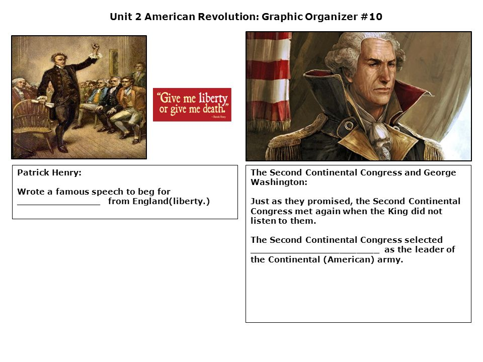 Unit 2 American Revolution: Graphic Organizer #10