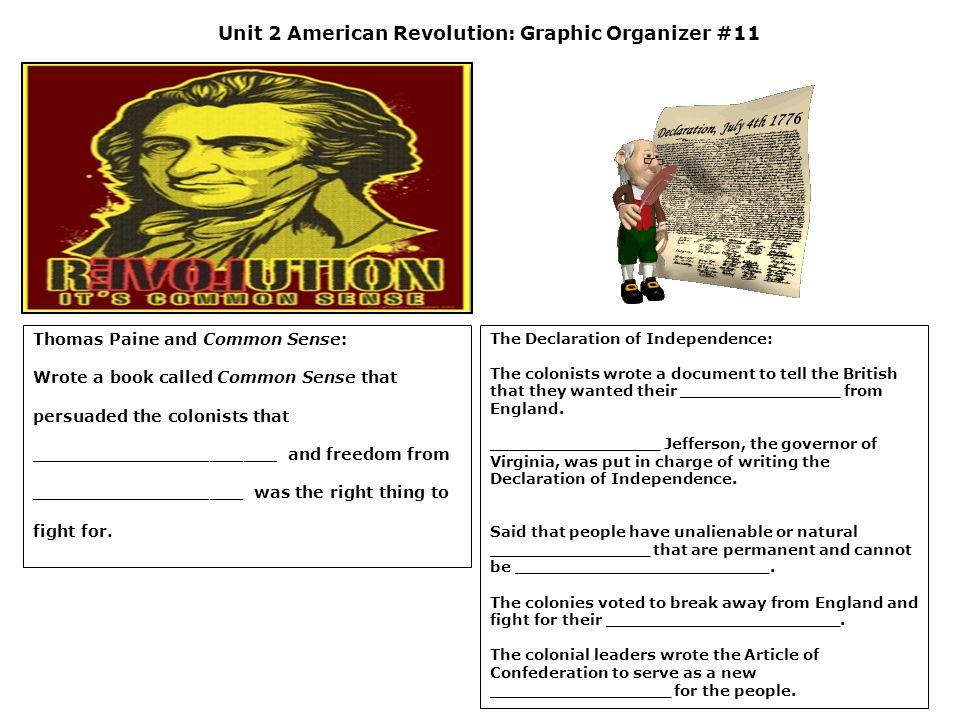 Unit 2 American Revolution: Graphic Organizer #11