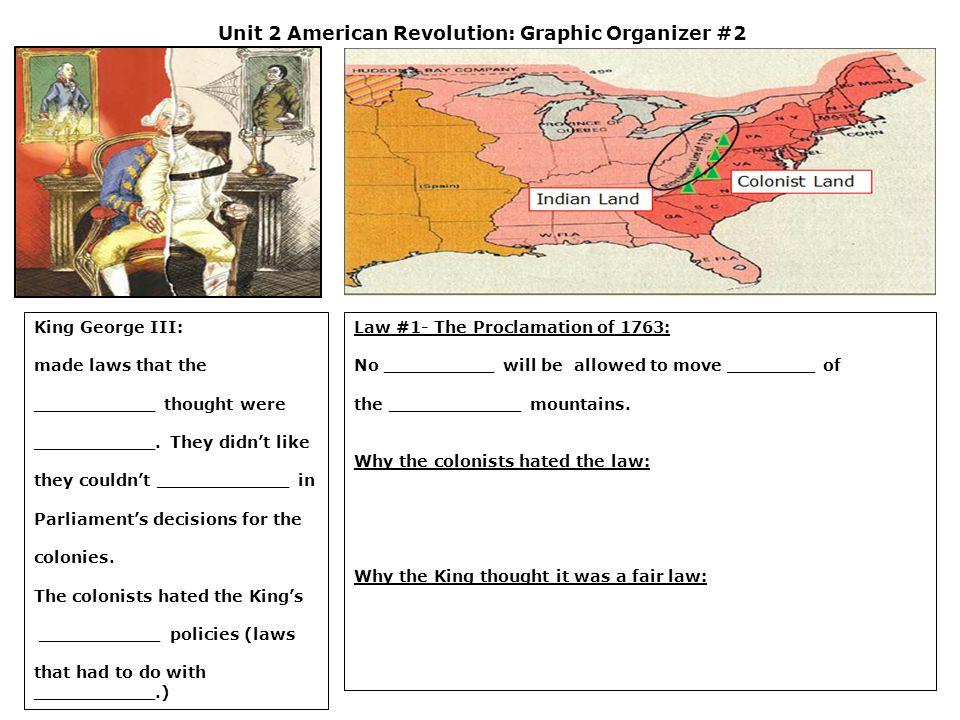 Unit 2 American Revolution: Graphic Organizer #2
