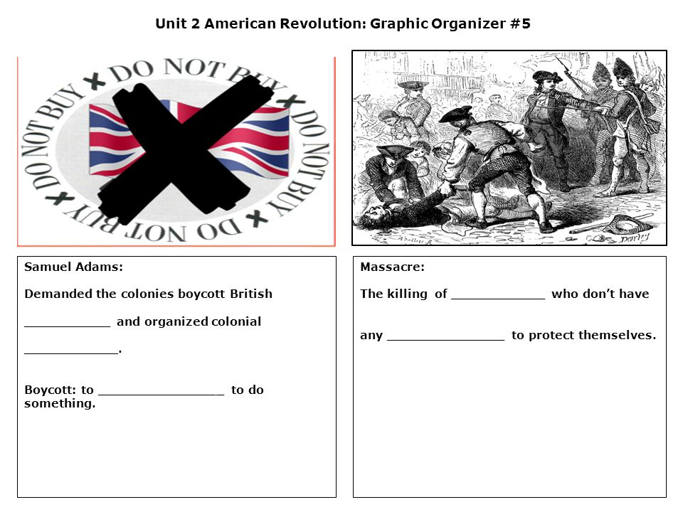 Unit 2 American Revolution: Graphic Organizer #5