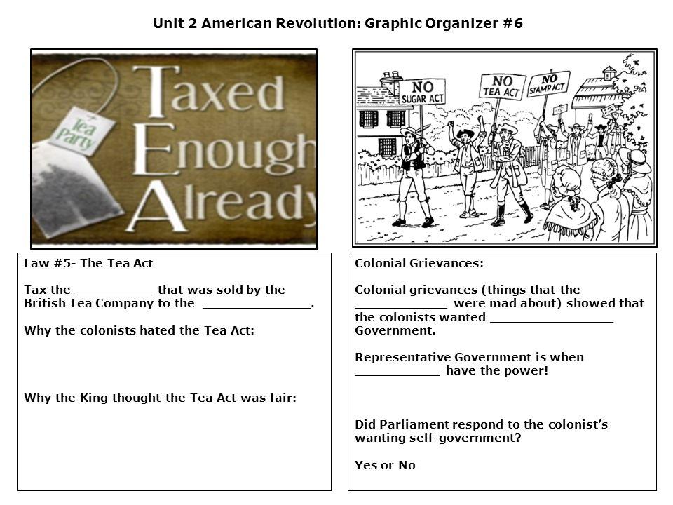 Unit 2 American Revolution: Graphic Organizer #6