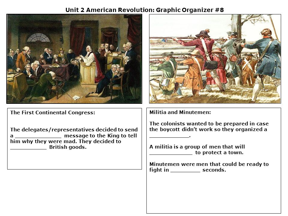 Unit 2 American Revolution: Graphic Organizer #8